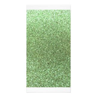 Hellgrüner Glitter Bild Karte