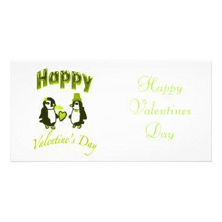 Hellgrüner Penguin-glücklicher Valentinstag Foto Grußkarte