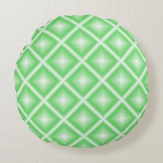 Hellgrüner Stern geometrisch Rundes Kissen