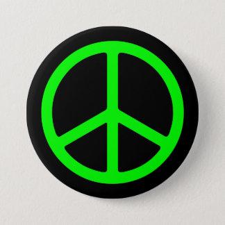 Hellgrünes Friedenszeichen auf schwarzem Pinback Runder Button 7,6 Cm