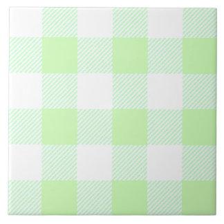 Hellgrünes Gingham-Karo-Muster Fliese