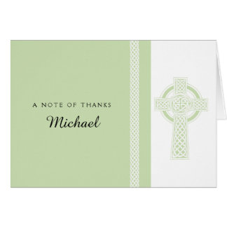 Hellgrünes religiöses Kreuz danken Ihnen Karte