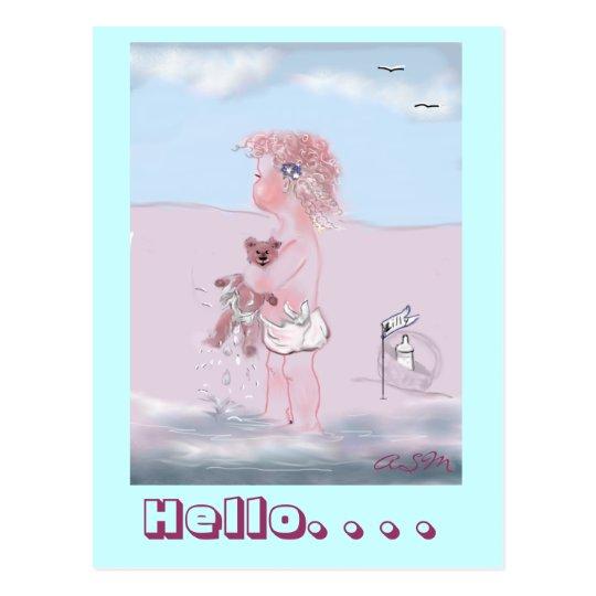 Hello - kleine  Süße + Teddy postkarte