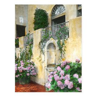 Hellpurpurne Hydrangeas in voller Blüte Postkarte