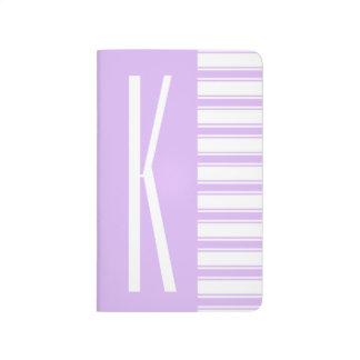 Hellpurpurne u. weiße horizontale Streifen Taschennotizbuch