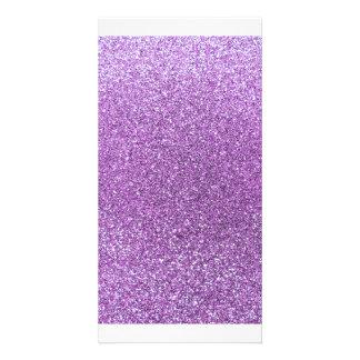 Hellpurpurner Glitter Photo Karten