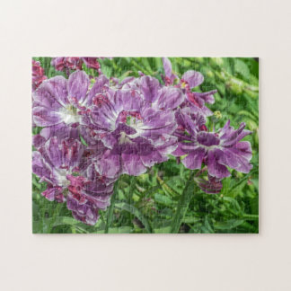 Hellpurpurnes Blumen-Fotopuzzlespiel Puzzle