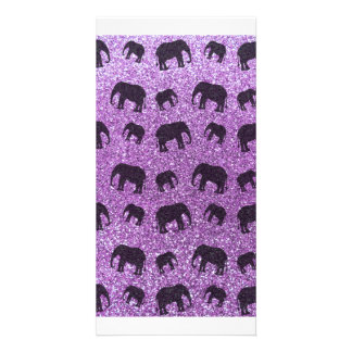 Hellpurpurnes Elefant-Glittermuster Individuelle Photo Karten