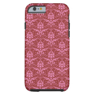 Hellrosa auf dunklem rosa Damast-Muster Tough iPhone 6 Hülle