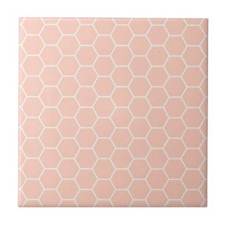Hellrosa Bienenwaben-geometrisches Hexagon-Muster Fliese
