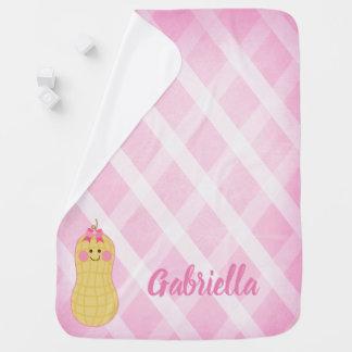Hellrosa kleine Erdnuss-personalisierte Baby-Decke Kinderwagendecke