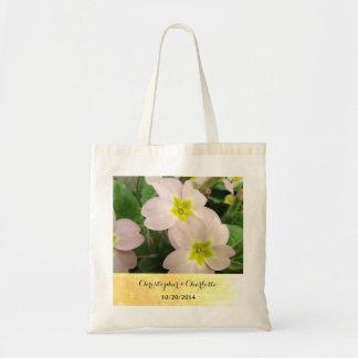 Hellrosa Primel-Blumen-kundenspezifische Hochzeit Tragetasche