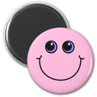 Hellrosa Smiley Runder Magnet 5,7 Cm