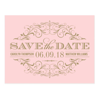 Hellrosa Strudel des GoldSave the Date   und Postkarte