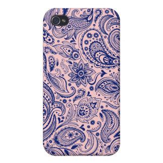 Hellrosa und blauer Blumenpaisley-Entwurf iPhone 4/4S Hülle