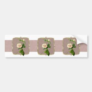 Hellrosa Vintage Blumen weit Autoaufkleber
