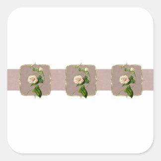 Hellrosa Vintage Blumen weit Quadratischer Aufkleber