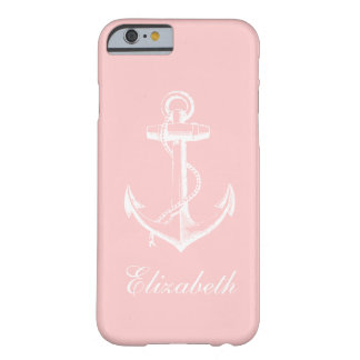Hellrosa Vintages Anker-Gewohnheits-Monogramm Barely There iPhone 6 Hülle