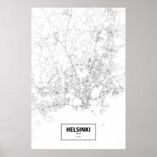 Helsinki, Finnland (Schwarzes auf Weiß) Poster