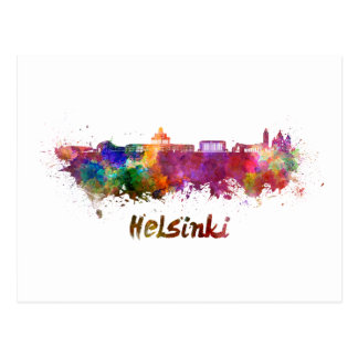 Helsinki skyline im Watercolor Postkarte