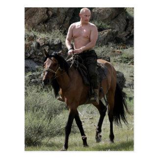 Hemdloser Putin reitet ein Pferd Postkarte