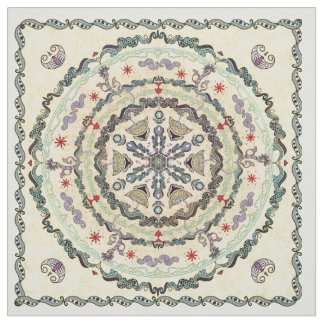 Hennastrauch-Art-Mandala-Gewebe Stoff