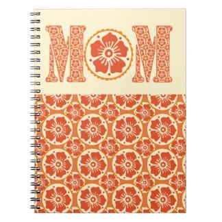 Hennastrauch-Blumen-Muster MAMMA Typografie-Mutter Spiral Notizblock