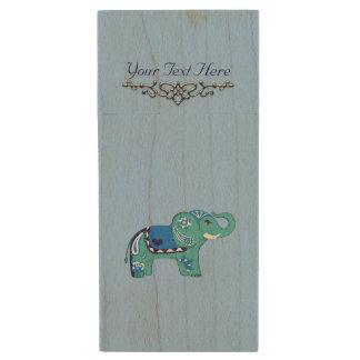 Hennastrauch-Elefant (blau/hellblau) Holz USB Stick