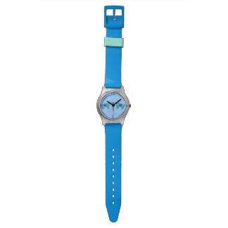 Hennastrauch-Elefant (blau/hellblau) Uhr