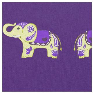 Hennastrauch-Elefant (Gelb/Lila) Stoff