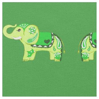Hennastrauch-Elefant (Grün/Limones Grün) Stoff