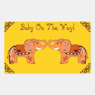Hennastrauch-Elefant (orange/Rot) (Babyparty) Rechteckiger Aufkleber