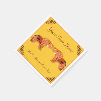 Hennastrauch-Elefant (orange/Rot) Serviette