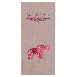 Hennastrauch-Elefant (Rosa/Lila) Holz USB Stick