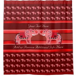 Hennastrauch-Elefant (Rot/Rosa) Duschvorhang