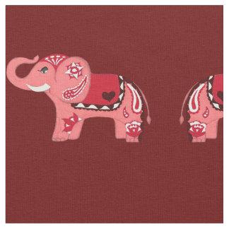 Hennastrauch-Elefant (Rot/Rosa) Stoff