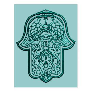 Hennastrauch-Hand von Hamsa (aquamarin) Postkarte