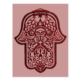 Hennastrauch-Hand von Hamsa (rot) Postkarte