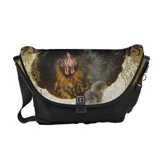 Henne mit tierischer brauner Streifenverzierung Kurier Tasche