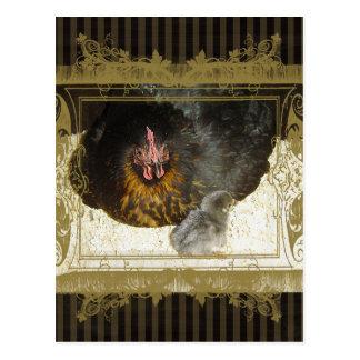 Henne mit tierischer brauner Streifenverzierung Postkarte