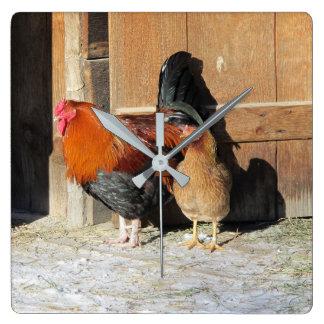 Henne-und Hahn-rustikale Huhn-Küchen-Uhr Quadratische Wanduhr