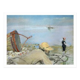 Henri Guerard, der auf dem Strand sich entspannt Postkarte