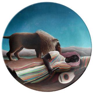 Henri Rousseau das schlafende Sinti und Roma Porzellanteller