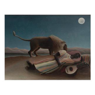 Henri Rousseau - das schlafende Sinti und Roma Postkarte