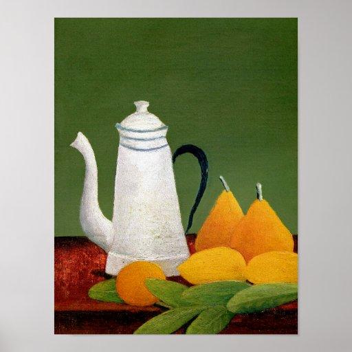 Henri Rousseau - Stillleben mit Frucht u. Teekanne Plakatdruck
