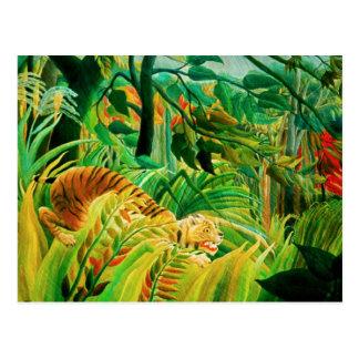 Henri Rousseau-Tiger in einer tropischen Postkarte