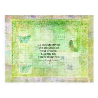Henry David Thoreau-Traum-Zitat mit Naturthema Postkarte