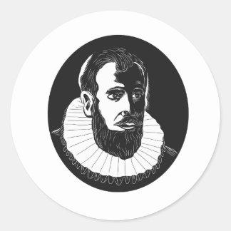 Henry Hudson-Forscher-Holzschnitt Runder Aufkleber