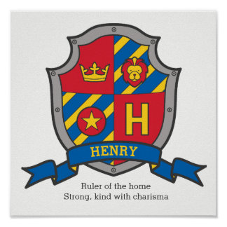 Henry-Jungennamensbedeutungs-Wappenkundeschild Poster