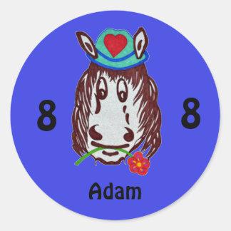 Henry-Pferd für Kinderaufkleber Runder Aufkleber